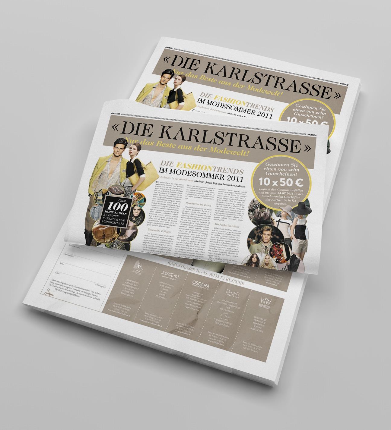 Anzeige Karlstrasse: Konzeption, Koordination, Grafikdesign, Satz- und Layoutarbeiten, Bildbearbeitung, Badische Neue Nachrichten (BNN)
