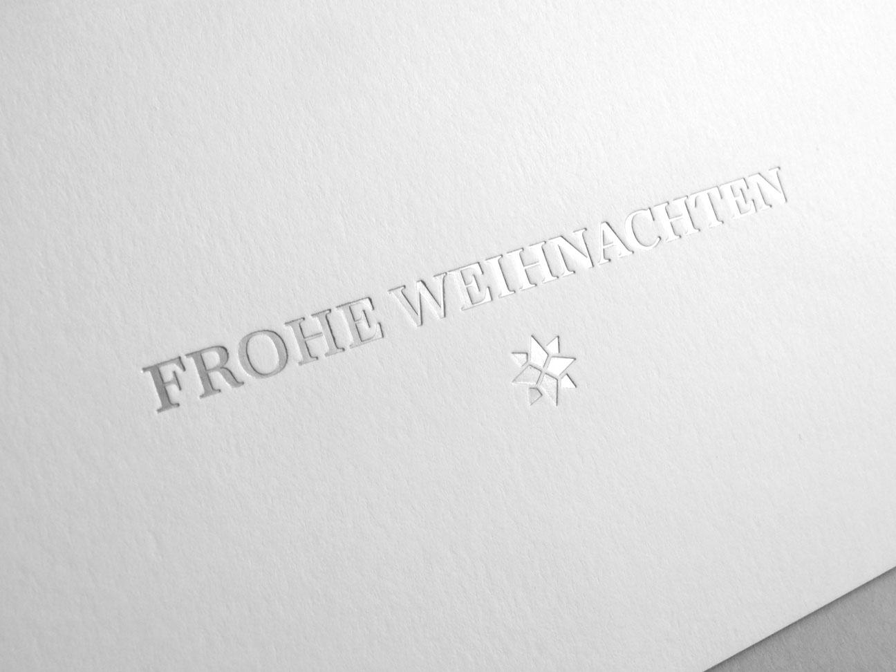 Weihnachtskarte mit Prägung matt silber edel VPF