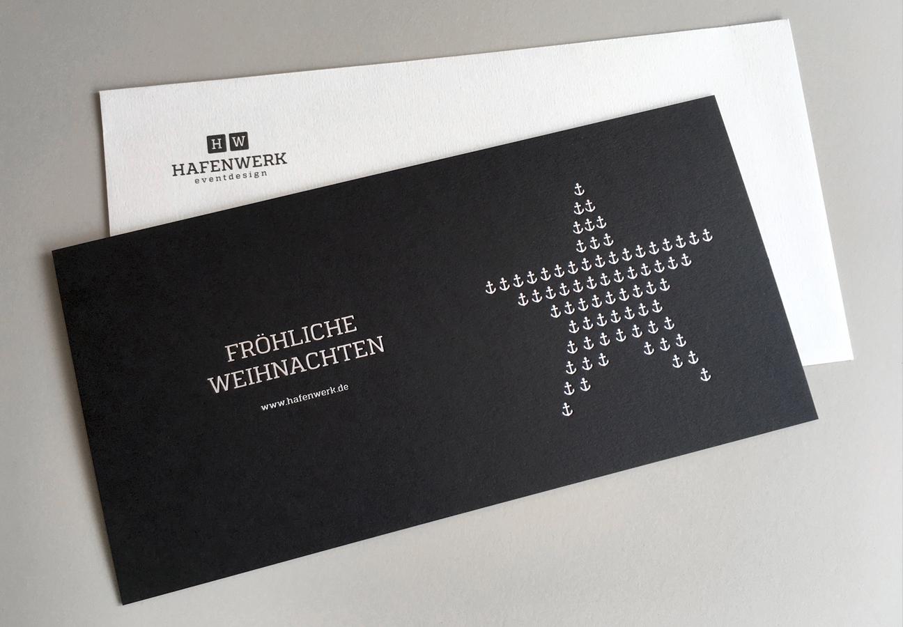 Hafenwerk Weihnachtskarte Schwarz mit silberner Prägung