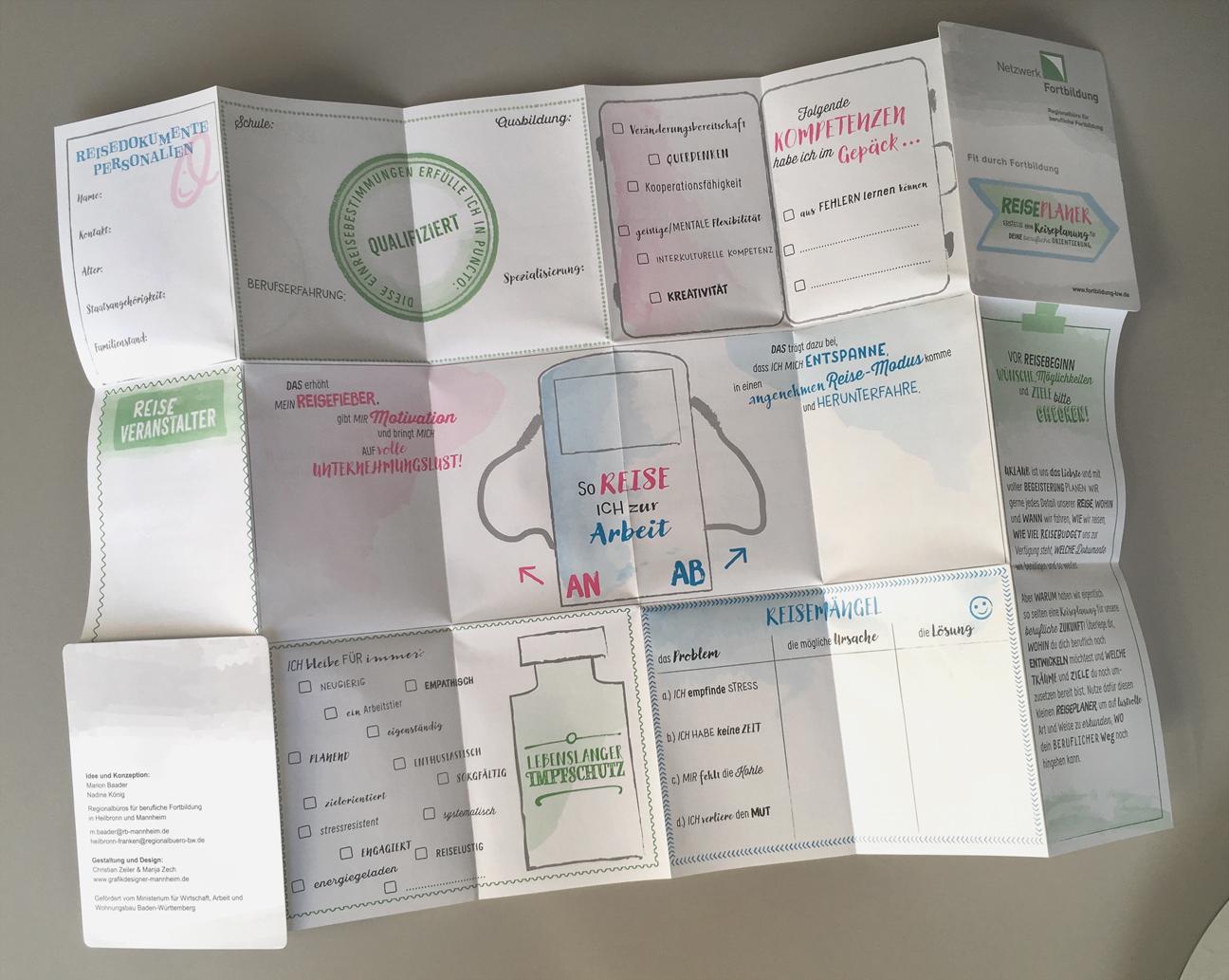Reiseplaner berufliche Fortbildung oder Neuorientierung, Netzwerk Fortbildung BW