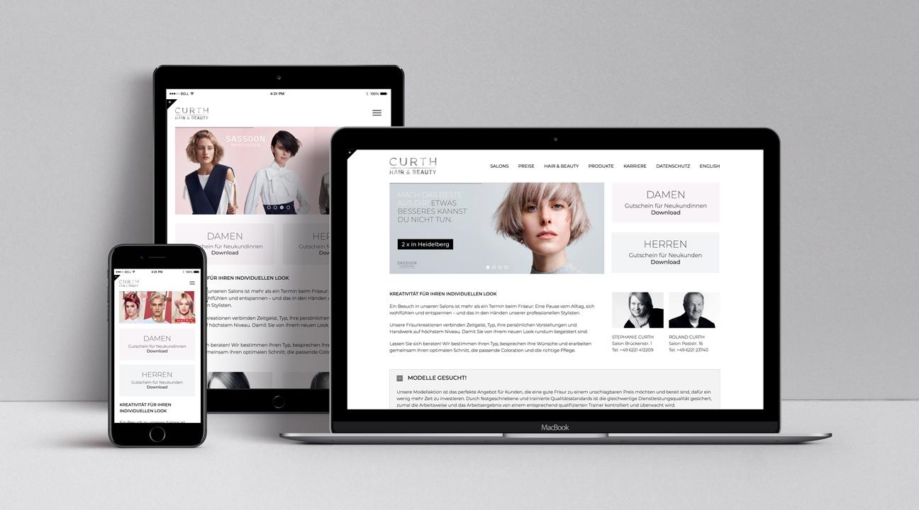 Webdesign Curth Hair and Beauty Heidelberg